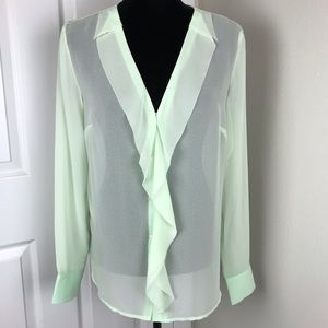 Ann Taylor mint green sheer long sleeve ruffle top